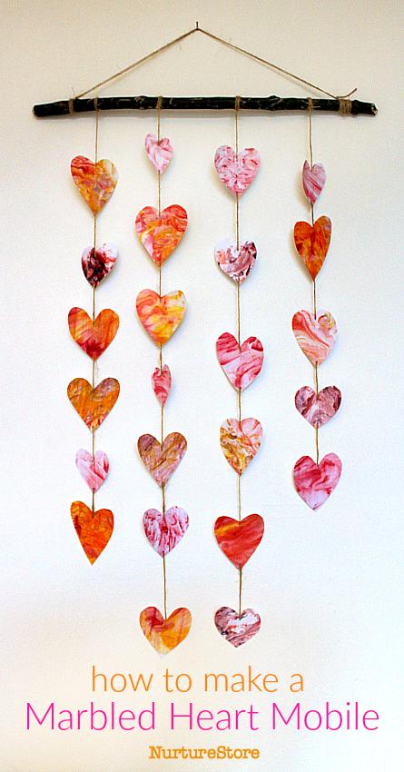 Easy Valentine Craft Homemade Heart Mobile NurtureStore
