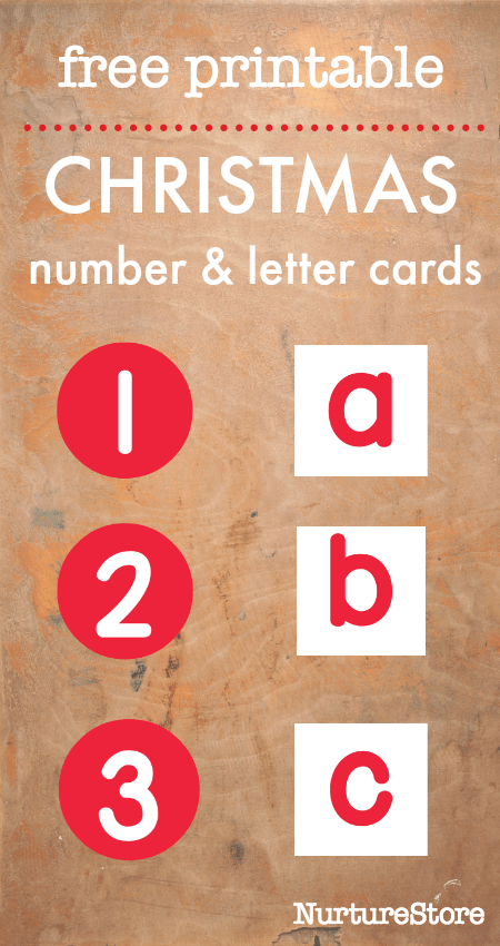 Free printable Christmas alphabet and printable number cards - candy cane math and literacy activities