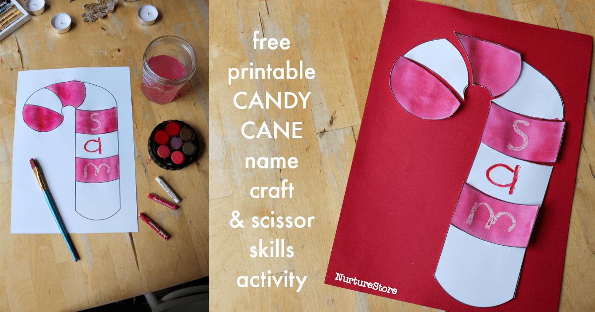 Printable Candy Cane Name Scissor Skills Activity