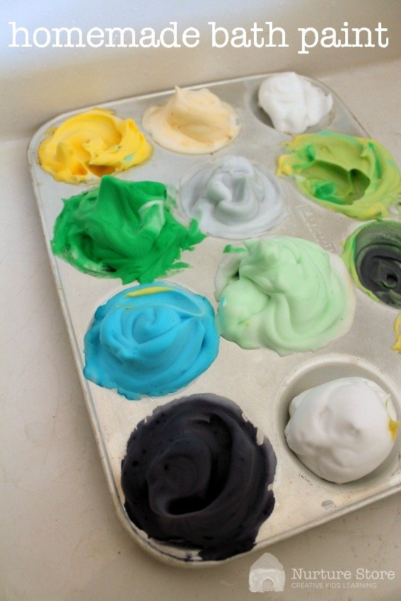Homemade bath paint recipe :: great for kids sensory play activities