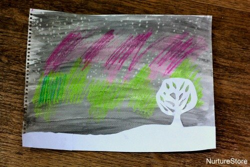 northern lights for kids painting