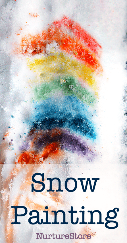 snow painting activity for kids, winter art project, snow day ideas