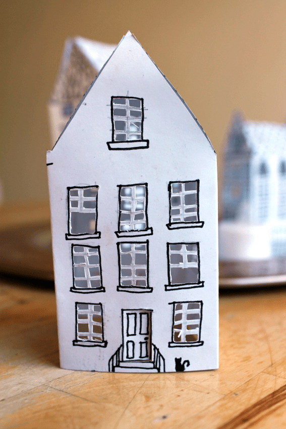 Beautiful and easy paper house lantern free printable for How to make house with paper folding