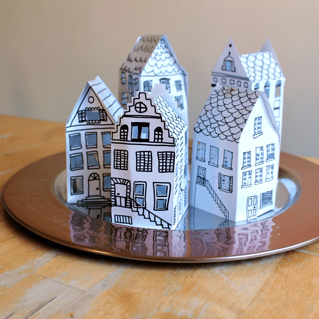Beautiful and easy paper house lantern - free printable