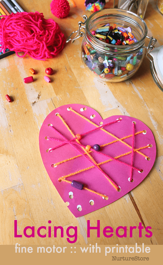 easy preschool valentine heart craft printable lacing cards, fine motor skills threading activity