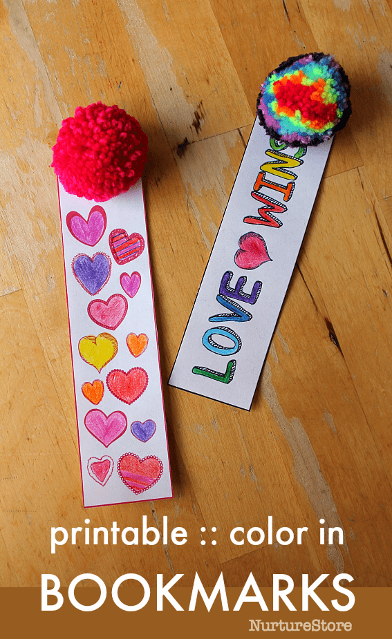 free printable color in bookmarks for kids, bookmark craft, valentine printable for kids