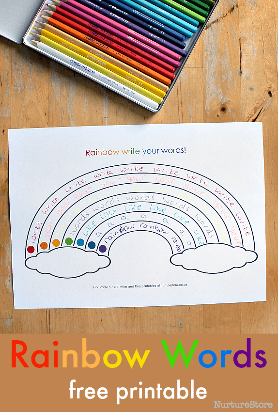 Free printable rainbow writing sheets nurturestore for Rainbow writing spelling words template
