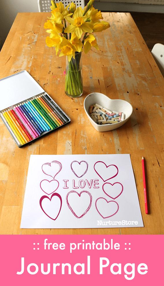 Printable Valentine Journal Page And Valentine Placemat Nurturestore