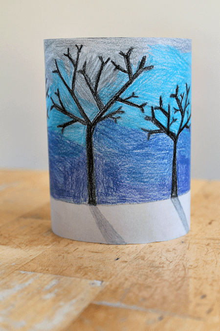 Winter Paper Lantern Craft Project Using Cool Colors And
