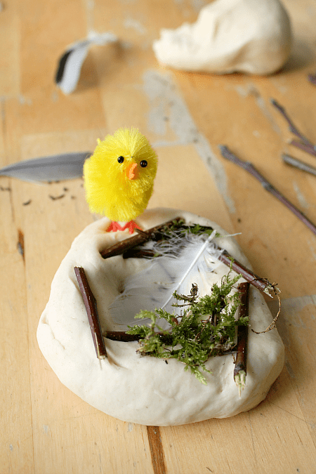 birds nest play dough, bird theme sensory play, learning about birds lesson plans