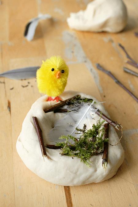 birds nest play dough, bird theme sensory play, learning about birds lesson plans