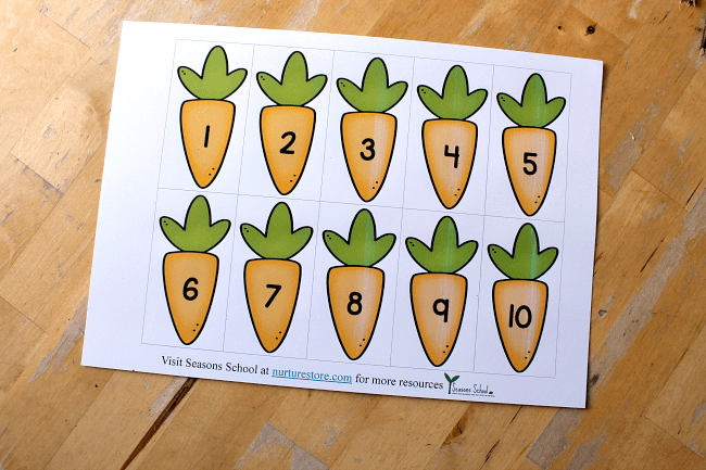 carrot number cards printable spring theme