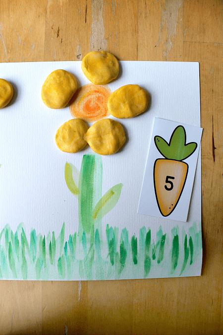 play dough petal math counting activity
