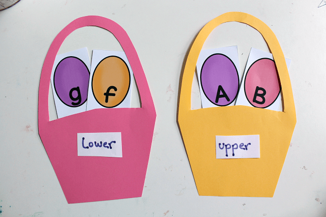 spring theme upper lower case sorting activity printable