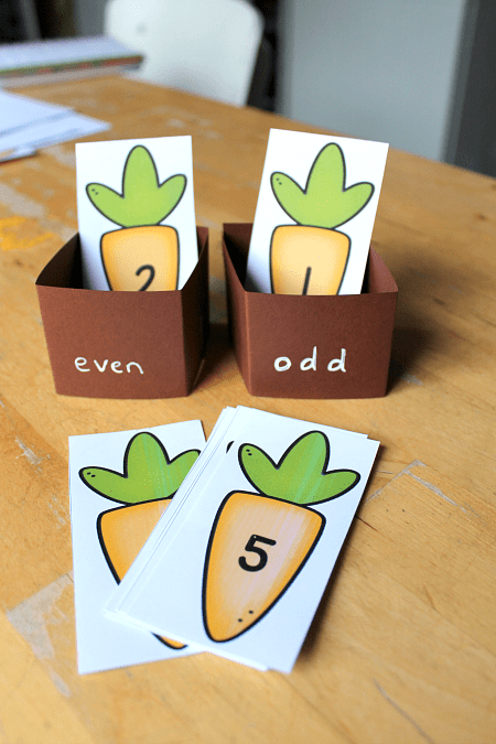 hands on odd even math activity spring theme