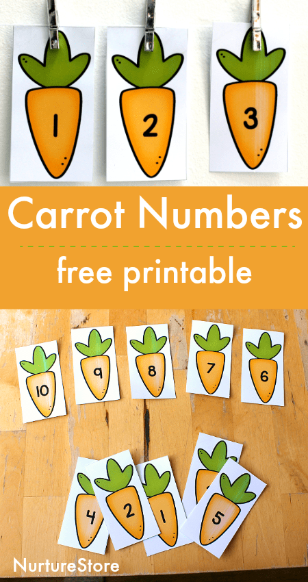 carrot number cards free printable