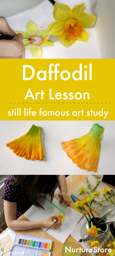 daffodil art lesson, still life art project for children, famous daffodil paintings