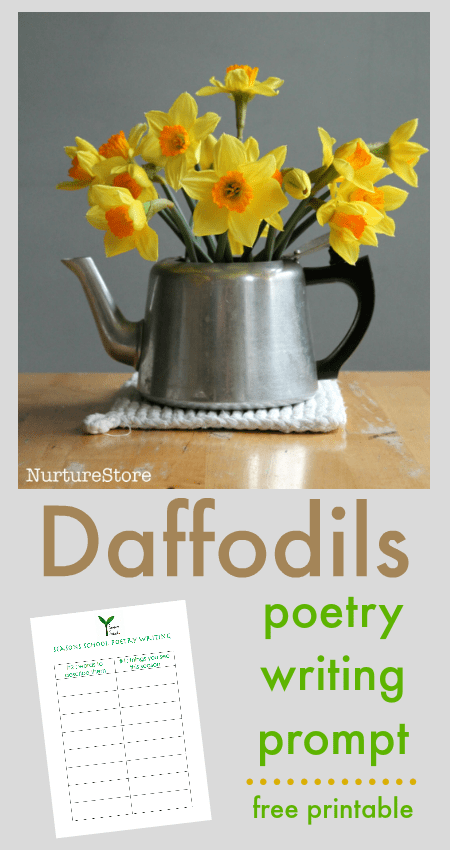 Daffodils poem printable, spring poetry prompts for children