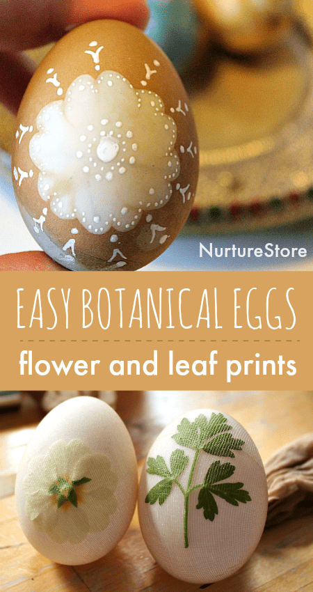 easy botanical eggs, flower and leaf print natural egg decorating