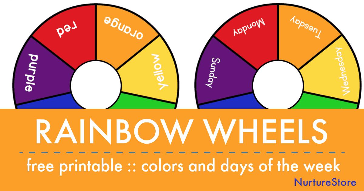 Printable Rainbow Days Of The Week And Color Wheels Nurturestore