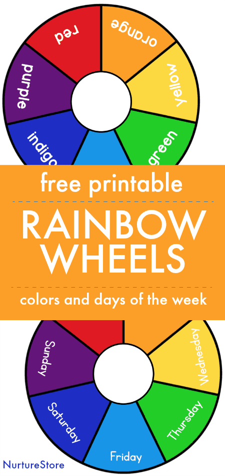 Free printable colour wheel, rainbow wheel printable, days of the week printable, color printable matching game