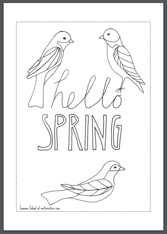 hello-spring-coloring-page