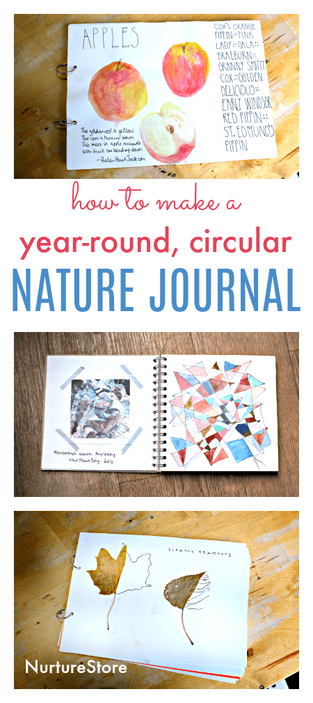 how to make a circular year round nature journal for kids