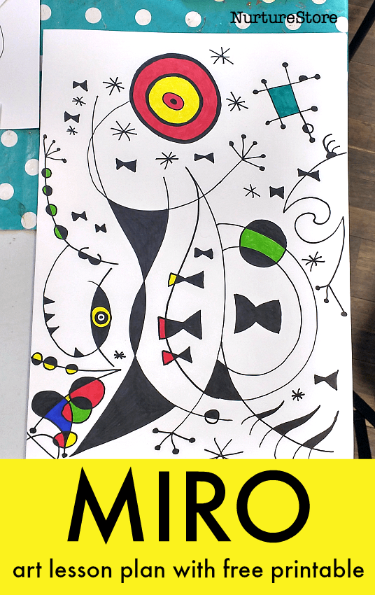 miro art lesson plan printable, famous artists art projects for children