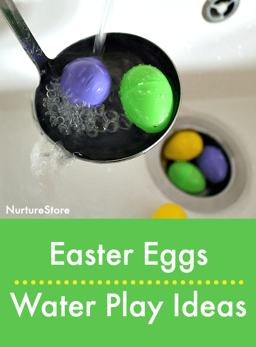 easter egg water play, things to do with plastic eggs, spring water play ideas