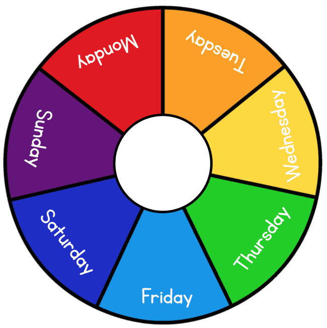 rainbow days of the week wheel printable