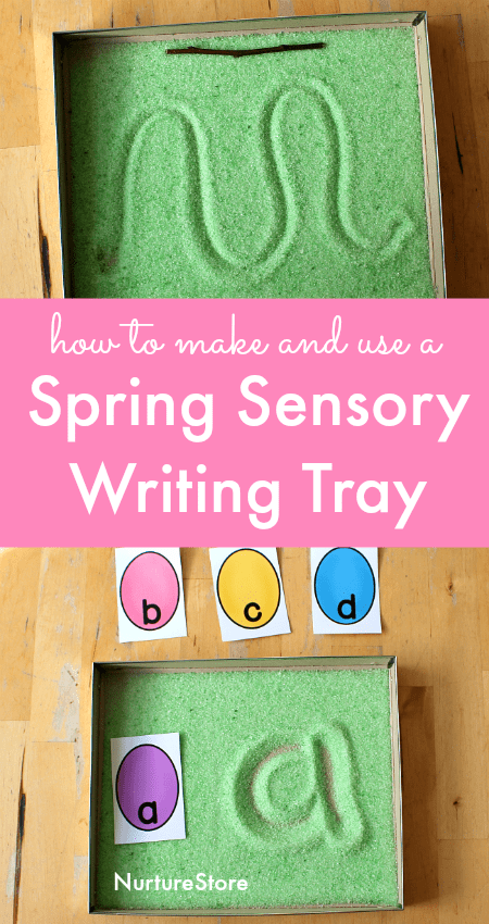spring sensory writing tray activities