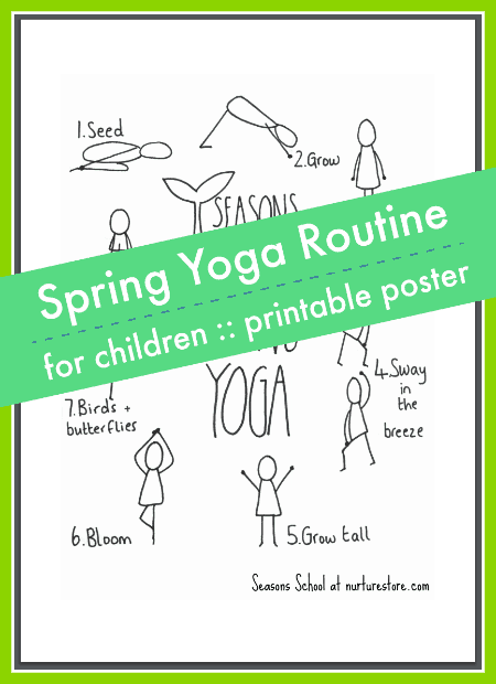 spring yoga routine for children printable poster