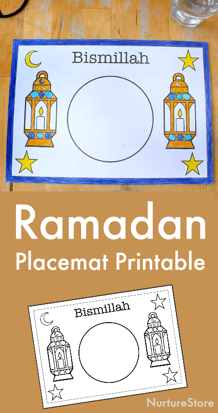 Ramadan printable for kids, Ramadan placemat, Islamic printables for children