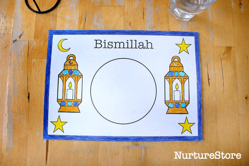 ramadan printable for children bismillah placemat