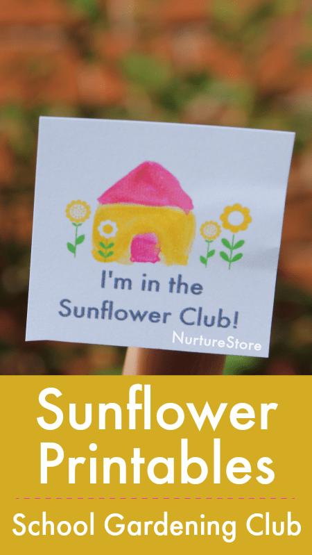 school gardening sunflower printables, sunflower lessons ideas