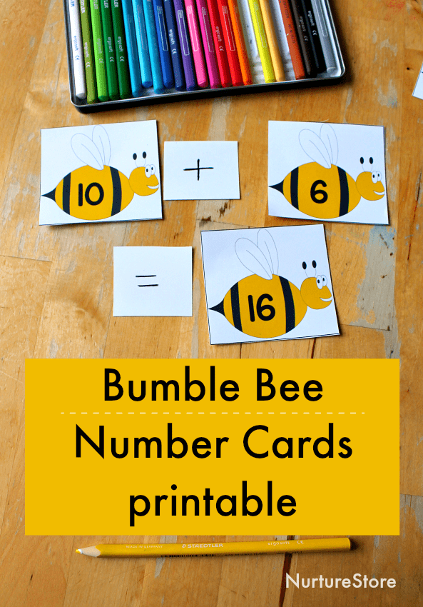 bee number cards printable, bee theme math activities