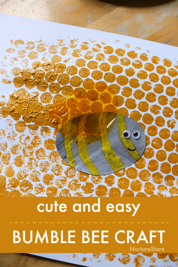 easy bee craft for kids using bubble wrap printing