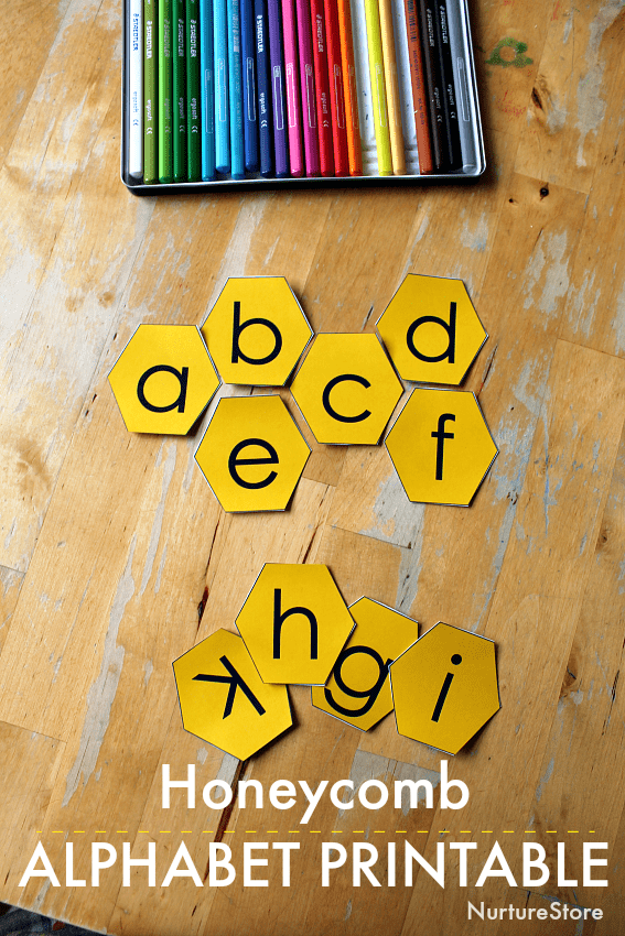 bee alphabet printable, bee theme letter activities