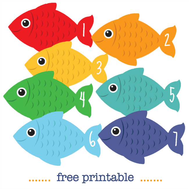 Number fish free printable math counting cards - NurtureStore