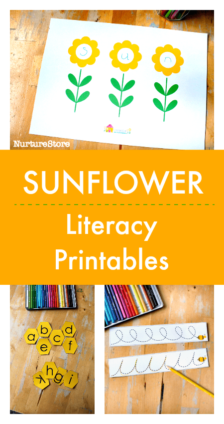 sunflower literacy printables, sunflower spelling mats printable