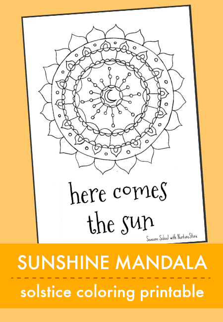 solstice printable coloring page, sunshine mandala design