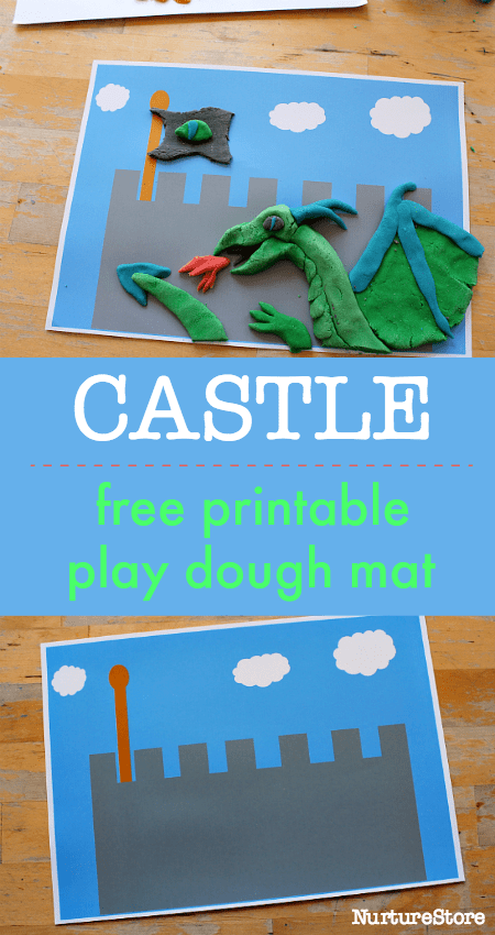 castle printables for kids, dragon sensory play, castle play mat