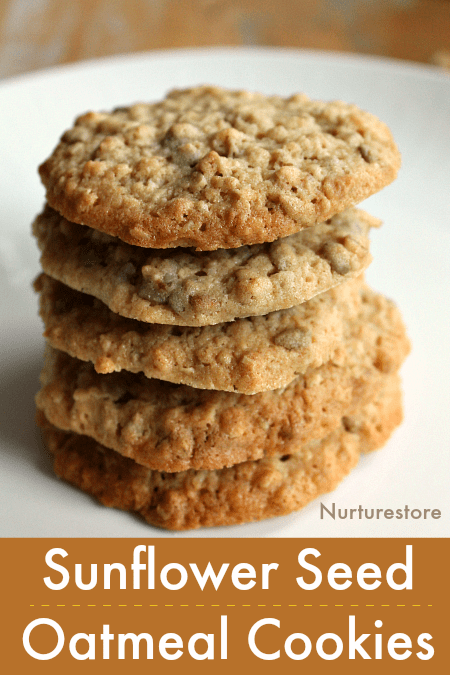 easy sunflower seed oatmeal cookie recipe, sunflower recipe, recipe for sunflower seeds