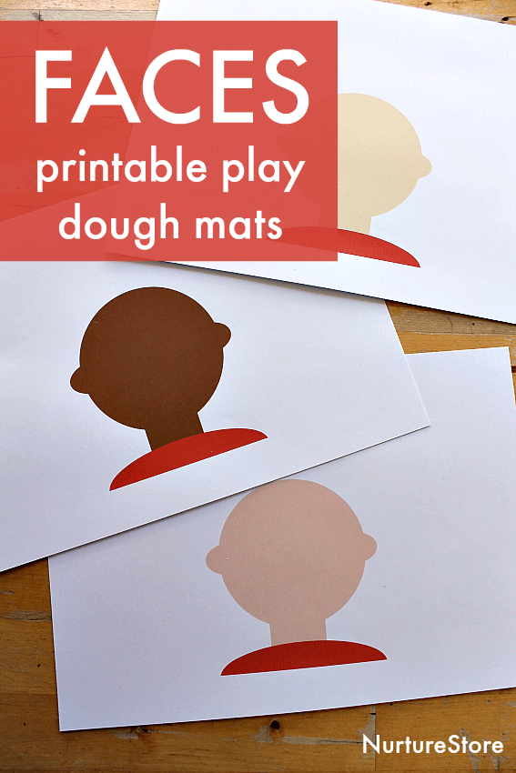 multicultural faces printable for play dough, diversity activity for kids