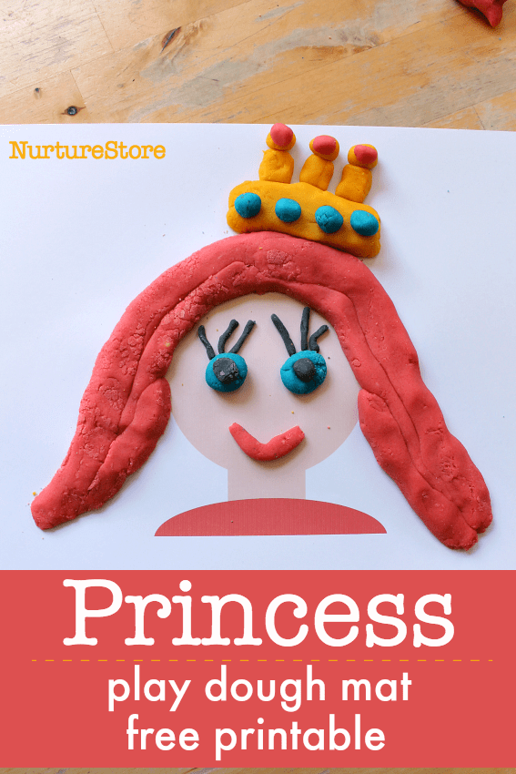 princess play dough printables, princess theme sensory play
