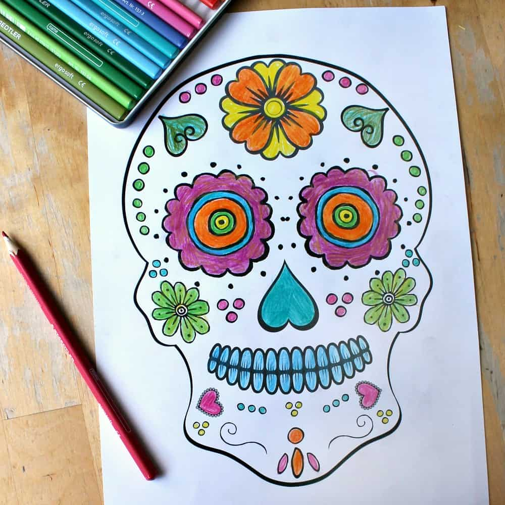 day of the dead coloring sheet sq