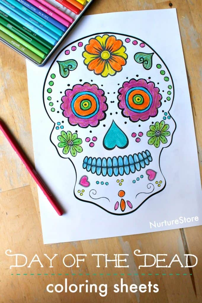 day of the dead skull coloring sheet for kdis