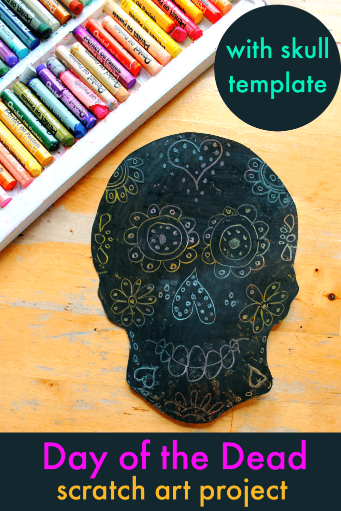 easy day of the dead skull art project with skull template printable
