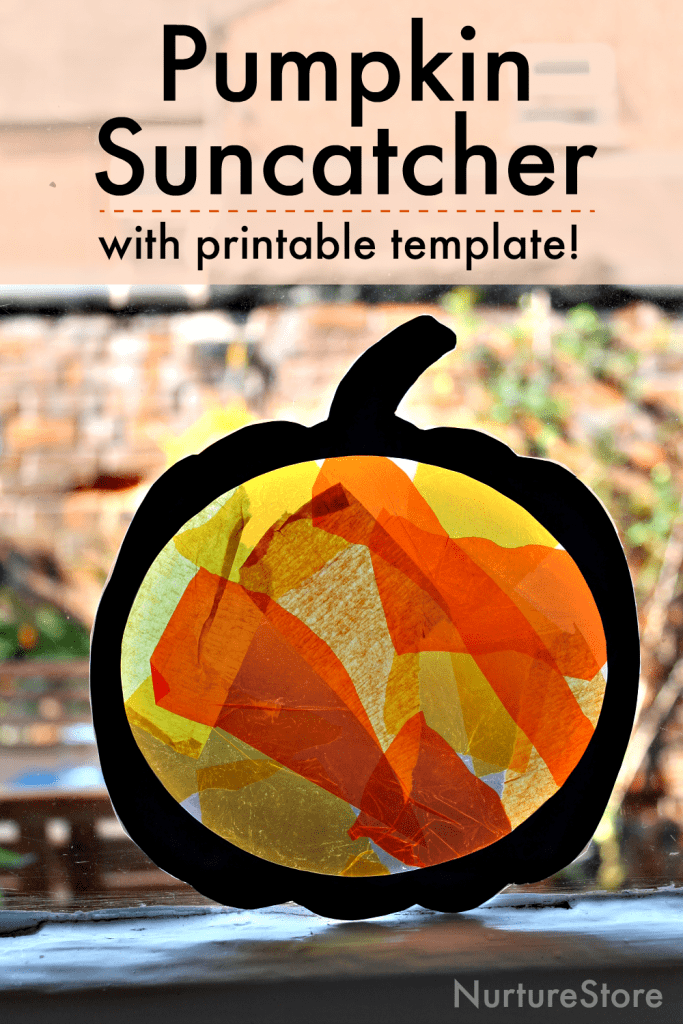 Easy Pumpkin Suncatcher Craft With Printable Template Nurturestore