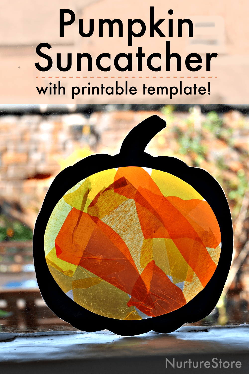 easy pumpkin suncatcher craft with printable template